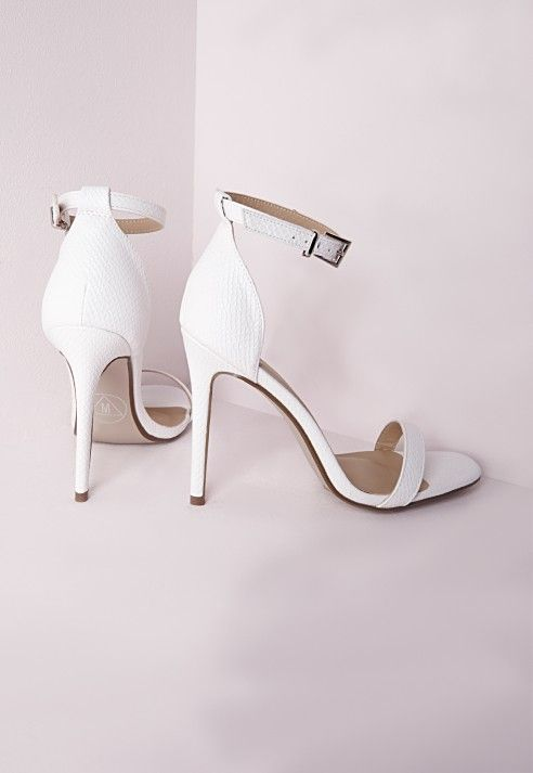 5a91d8b175 Barely There Strappy Heeled Sandals White Croc - Missguided | Heels ...
