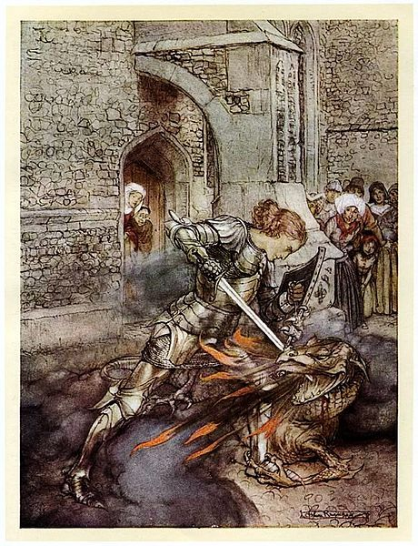 Lancelot slays the dragon. Illustration from Tales of King Arthur and the Knights of the Round Table by Nelly Montijn-The Fouw Illustrated by Arthur Rackham