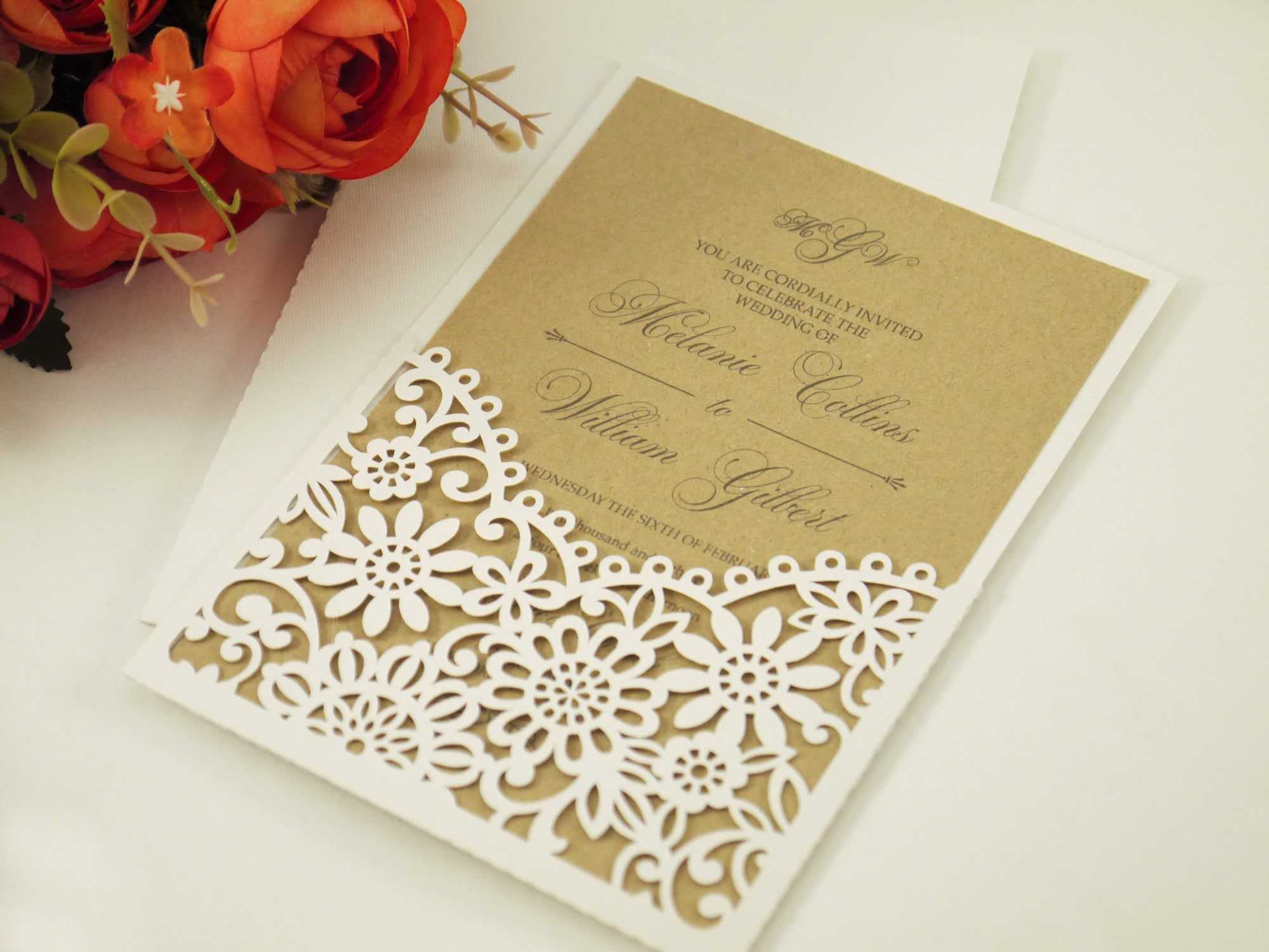 Пин на доске Laser cut Wedding Invitations