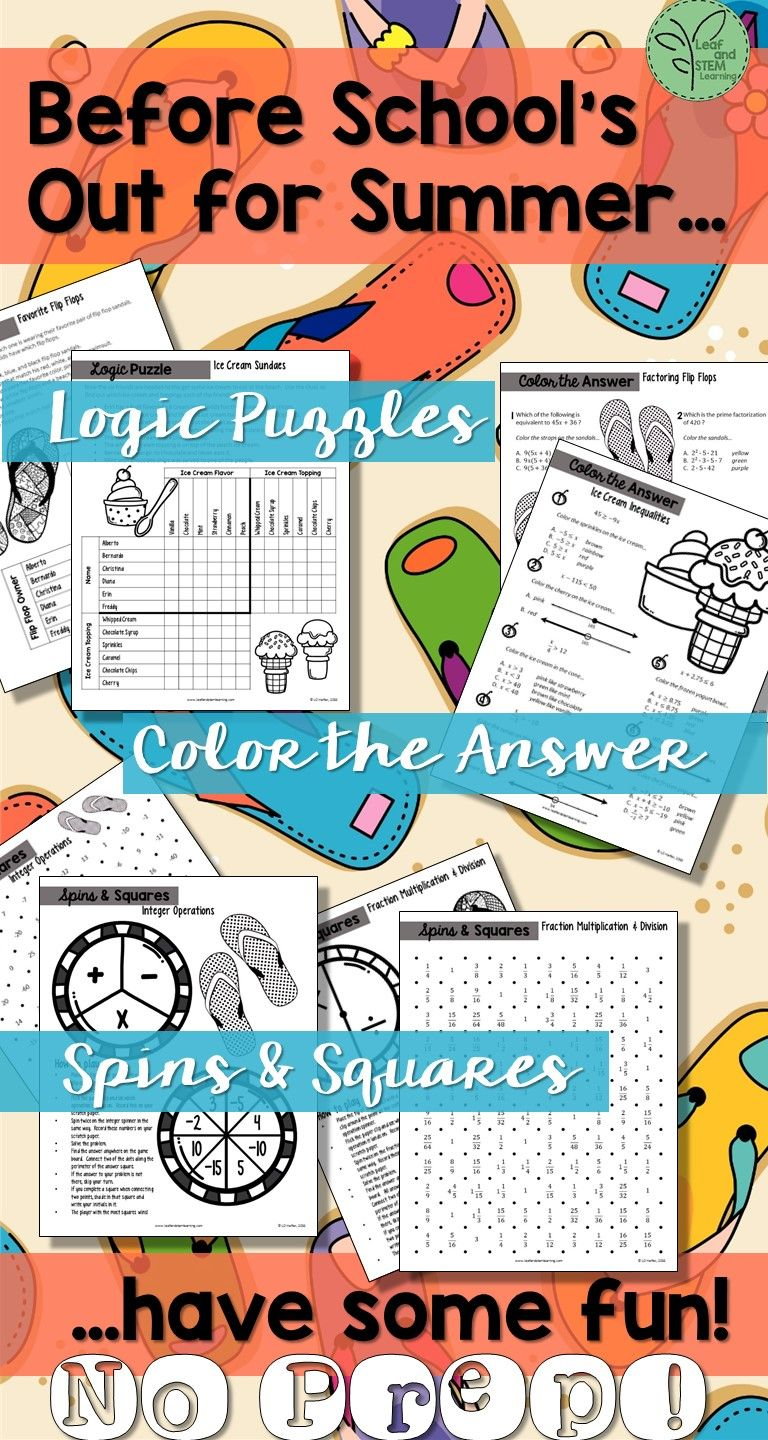 Summer Math Puzzles for Middle School | End of the Year Ideas and ...