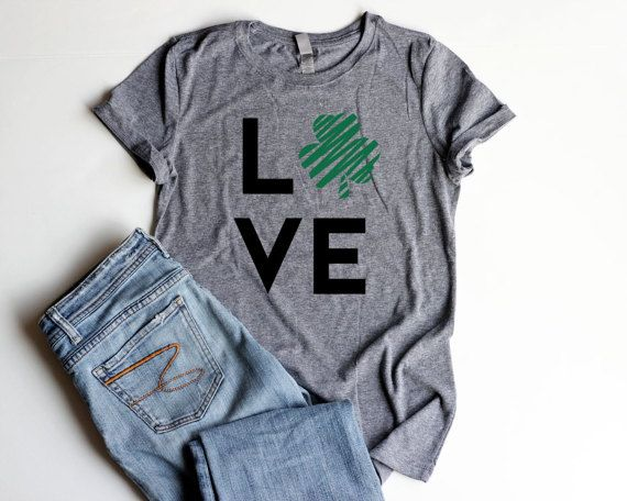 4123840bb LOVE Shamrock St. Patrick's Day Shirts Junior Fitted Women Four Leaf Clover  Womens Shirts St. Patric