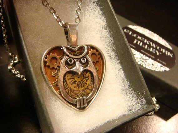 Clockwork Owl Heart with Gears Steampunk Owl by ClockworkAlley