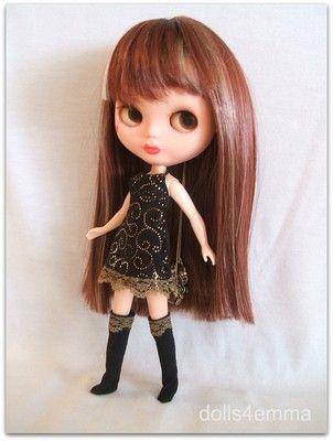 METALLIC SWIRL - Dress and Socks for Blythe Dolls - handmade by DOLLS4EMMA