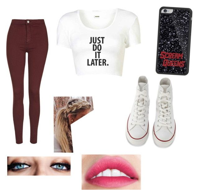 """""""sq"""" by cherlloydbrat23 ❤ liked on Polyvore featuring Topshop, Converse and Maybelline"""