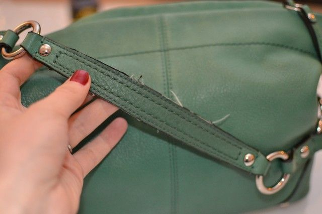 d0195982b1 How to fix a fraying strap on a leather faux leather purse using Edge Kote  to re-cover the fraying edge.