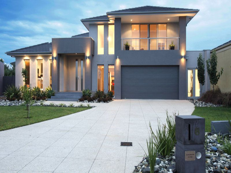 bluestone modern house exterior with balcony feature lighting house facade photo 288843 - Modern Houses Ideas