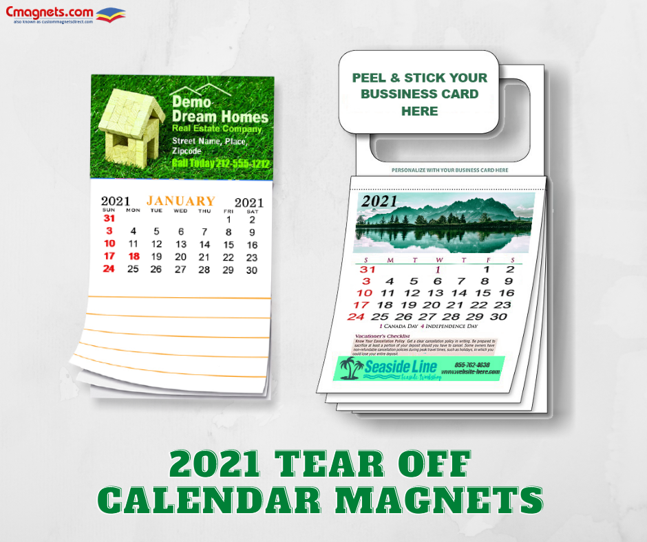 Tear Off Calendar Magnets In 2020 Magnetic Calendar Calendar Printing Business Cards