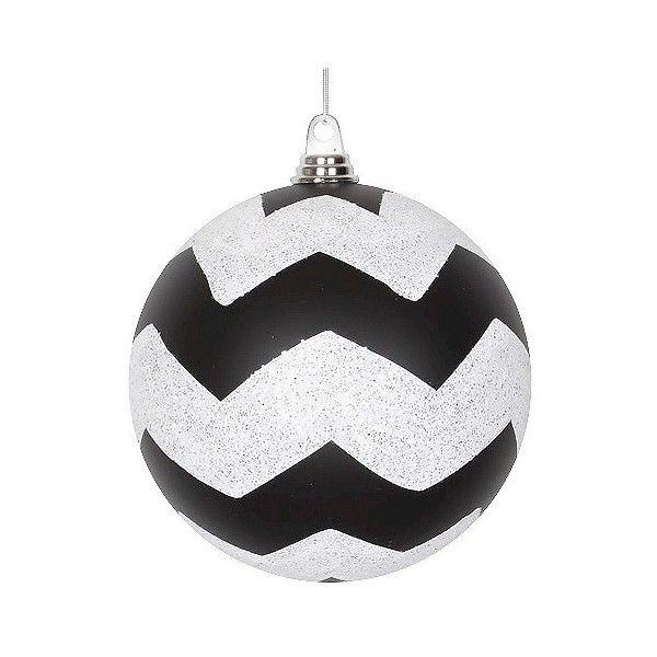3ct Black White Glitter Chevron Ball Christmas Ornament Set 56 Bam Liked O Glitter Chevron Black White Christmas Tree