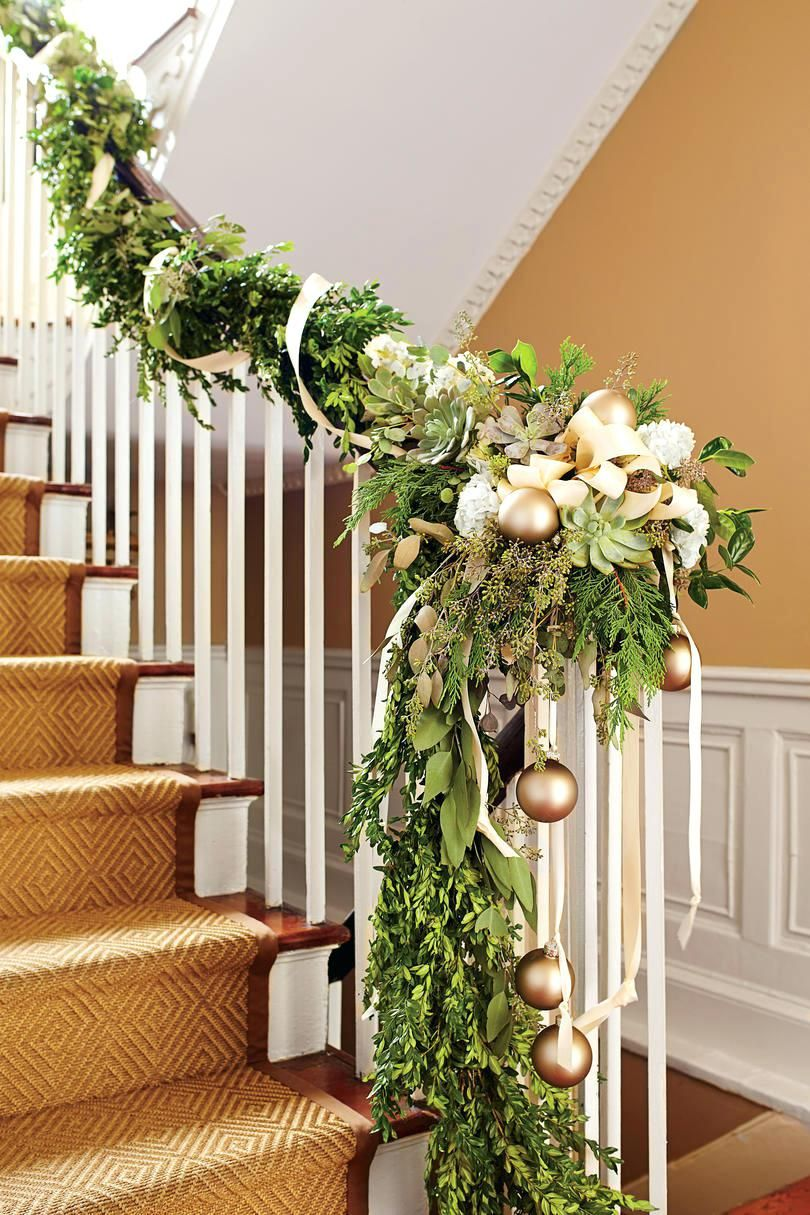 Front Door Inspirations Staircase Christmas Garland Grapevine