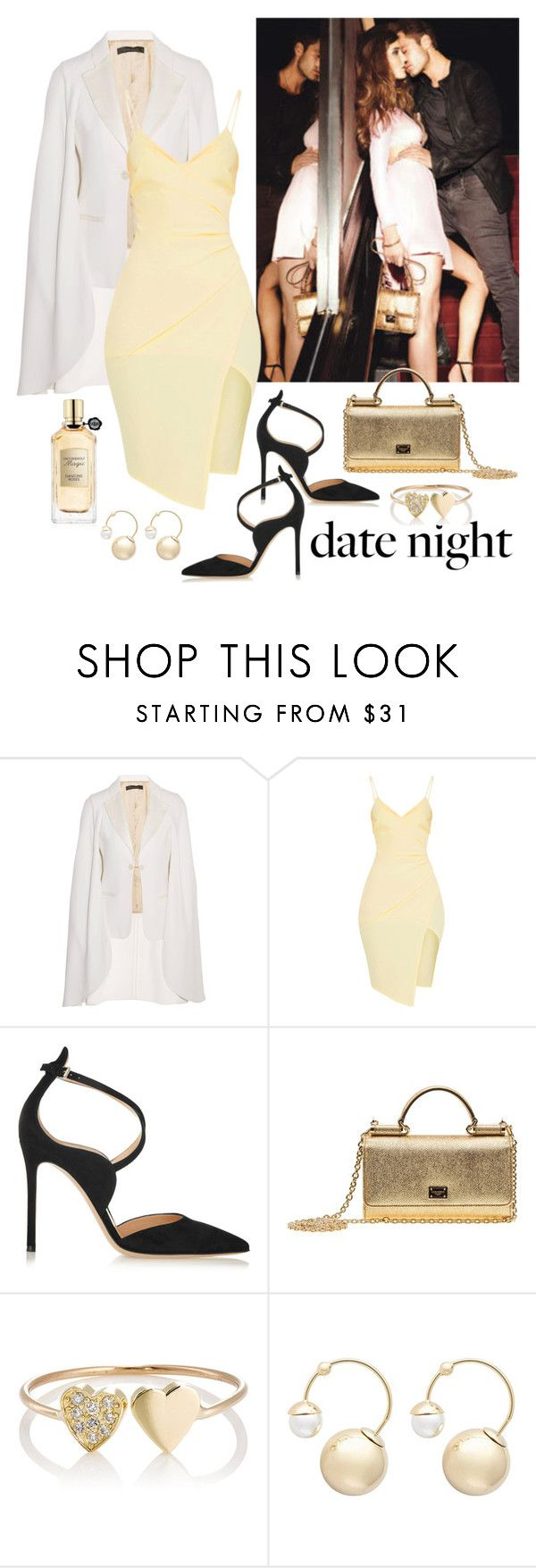 """""""Date Night in Satin"""" by giovanina-001 ❤ liked on Polyvore featuring Sebastian Professional, Elie Saab, Gianvito Rossi, Dolce&Gabbana, Jennifer Meyer Jewelry, Witchery and Viktor & Rolf"""