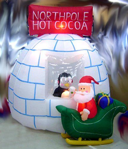 8 Airblown Inflatable Santa Penguin Coffee Shop Igloo: Pin By MiggityMiles HT On Decor Ideas