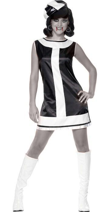 PINK AND BLACK 60S 70S PARTY GIRL FANCY DRESS COSTUME LADIES SHIFT DRESS /& HAT