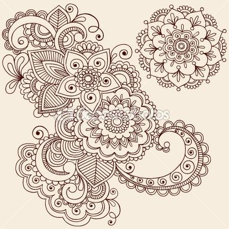 Henna Mehndi Tattoo Doodles Vector Design Elements by blue67 - Imagen vectorial