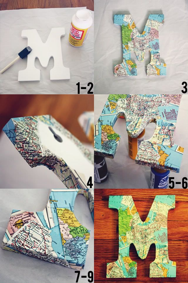decoupaged map letter DIY