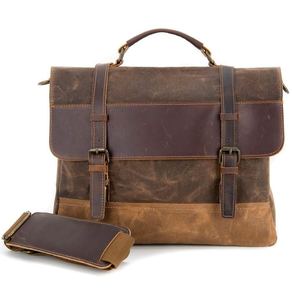 7f43e3a5c6f2 Kopack Waterproof Laptop Briefcase 15.6 inch Waxed Canvas Genuine Leather  Coffee  fashion  clothing