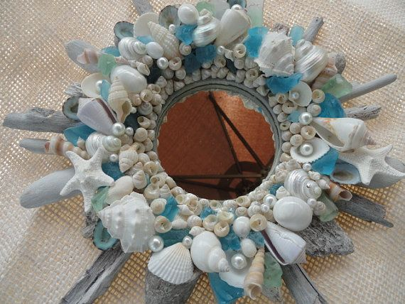 Photo of Seashell mirror, driftwood mirror, coastal decor, beach decor, coastal mirror, shell mirror, nautical decor