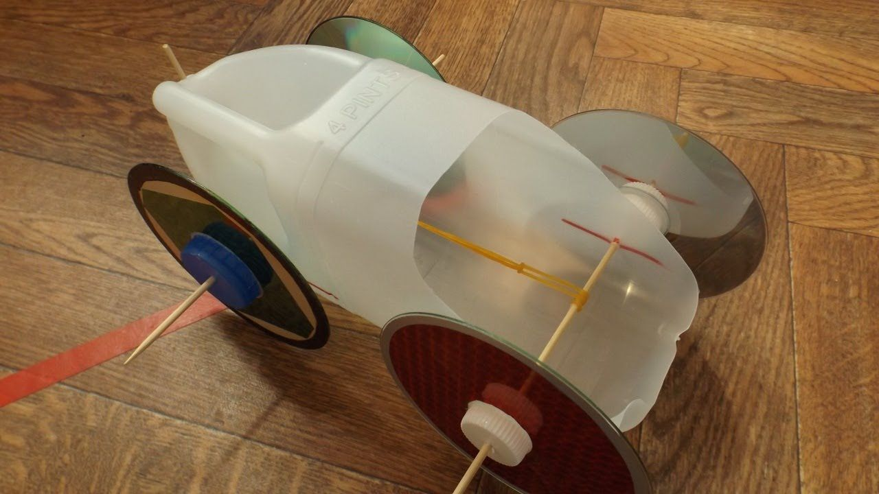 Rubber Band Powered Milk Bottle Car Engineering Rubber