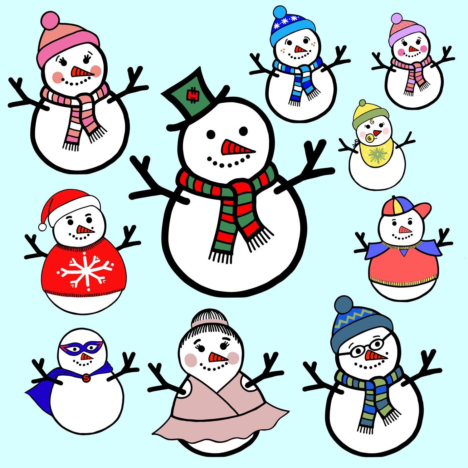 new clipart snowman family sleepy fox prints rh pinterest com