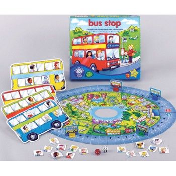 The Orchard Toys Bus Stop Game is a fun addition and subtraction game, helping teach kids maths skills, while they have heaps of fun. Count passengers on and off the bus, as you roll the dice to move around the board. When the bus arrives at the bus stop, count up the passengers. The winner is the one with the most passengers when the bus arrives. This game is engaging and entertaining, as well as educational. The Orchard Toys Bus Stop Game makes a great gift.