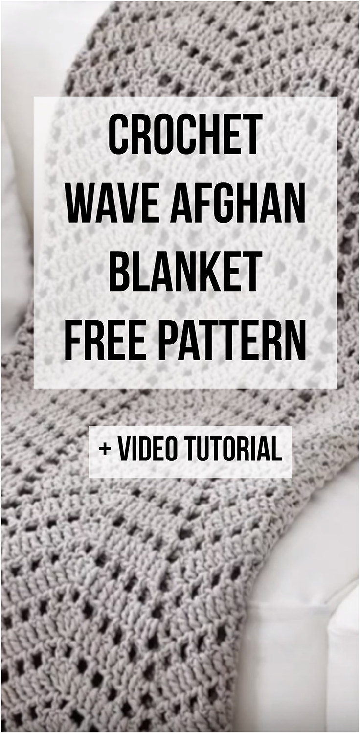 Crochet Wave Afghan Blanket + Free Pattern + Step-by-step video ...