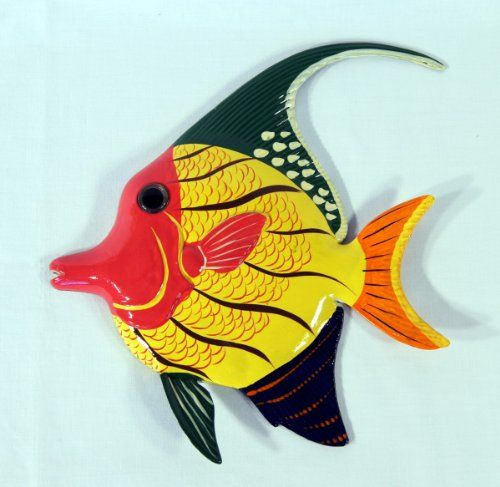 Hand Painted Yellow Pink Tropical Angel Fish Wall Mount Decor Plaque ...