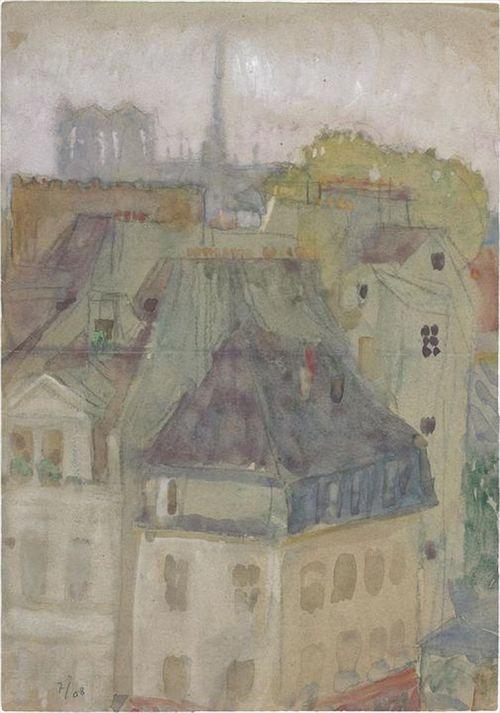 Le Corbusier  Vue des toits de Paris. Notre-Dame au fond, 1908  Graphite pencil and watercolour on paper Dimensions: H: 0,358m x L: 0,252m