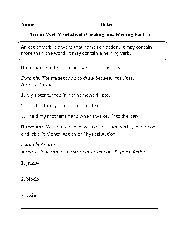 Worksheets Action Verb Worksheet action verbs worksheets sharebrowse circling and writing worksheet part 1 beginner