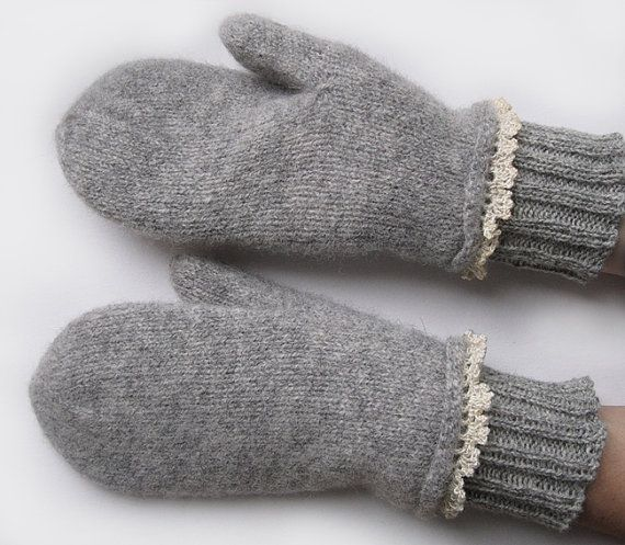 Handknitted and felted mittens Lsize by Laindesign on Etsy