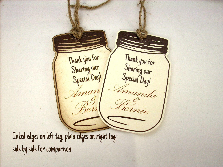 Favor Tags - 20 Mason Jar Wedding Favor Tags Rustic Wedding Inked ...