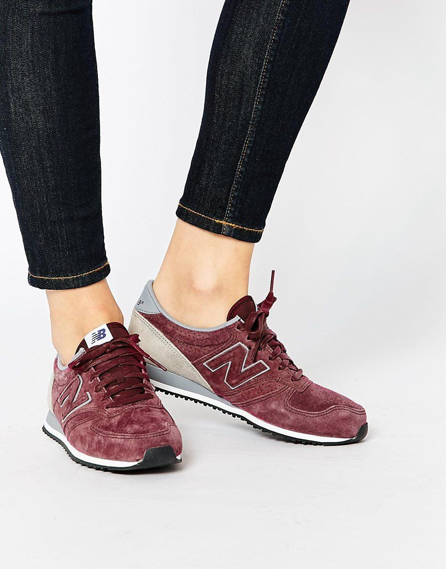new balance 373 navy & burgundy suede sneakers