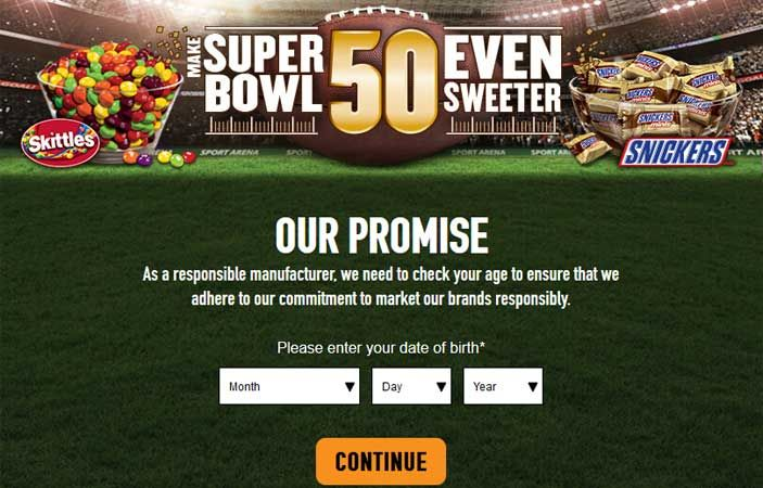 You can Enter daily for your chance to win the Mars Candy and Gift Cards Super Bowl Instant Win Game