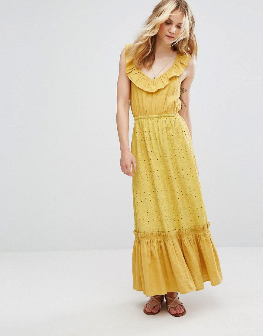 Moon river tiered maxi dress yellow products pinterest products