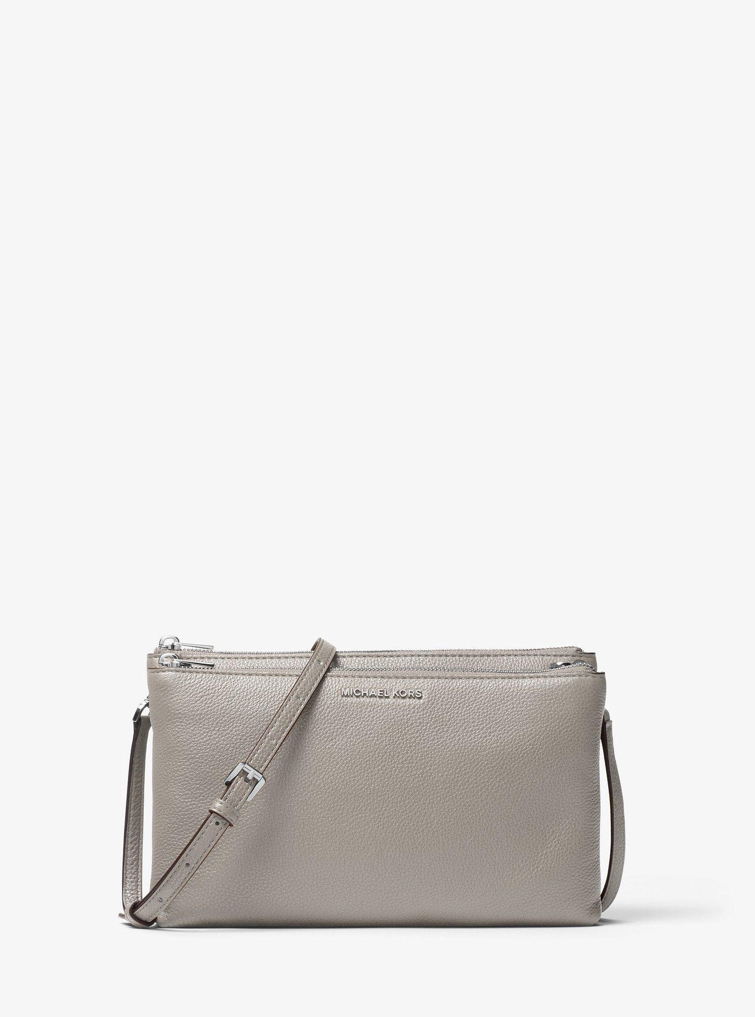 2f1f84bc9bb8 Michael Kors Adele Leather Crossbody - Pearl Grey