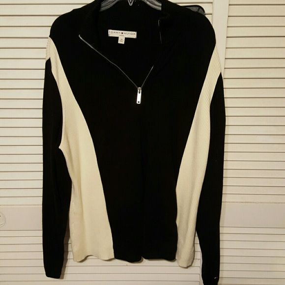 Sweater Tommy hilfiger Sporty sweater black and cream Tommy Hilfiger Sweaters V-Necks