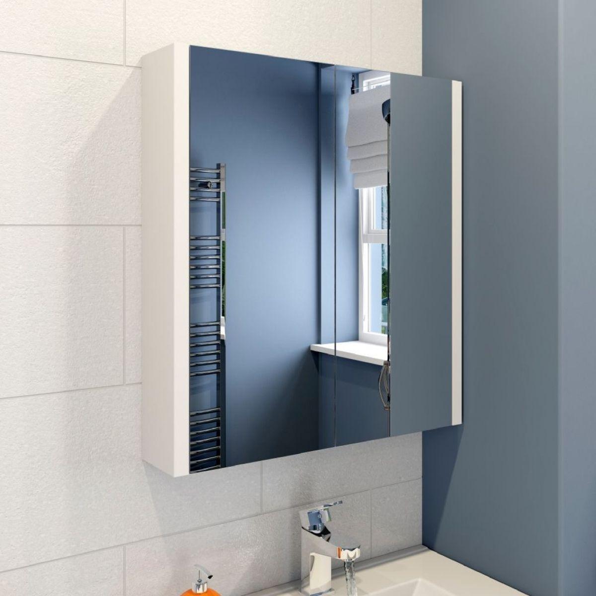 Icona Classic White Mirrored Bathroom Cabinet 600mm 7998 Inside
