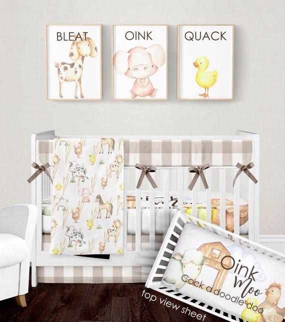 Crib Bedding Set, Farm Animal Nursery Bedding, Gender Neutral Farmhouse Baby Blanket, Beige Buffalo Plaid Skirt, Rail Guard Cover, Sheet