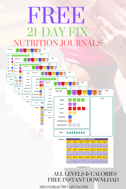 Free Printable 21 Day Fix Journals is part of 21 day fix journal, 21 day fix, 21 days, Tracker free, Free printables, Nutrition tracker - Free Printable Journals For The 21Day Fix With Nutrition And Workouts On One Page  Instant Download, No SignUp Required  Designed By Me