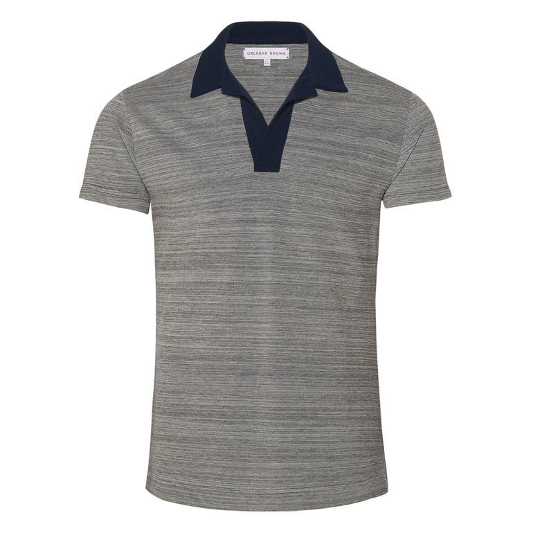 Felix navy navy melange an easy stylish polo without for Polo shirts without buttons