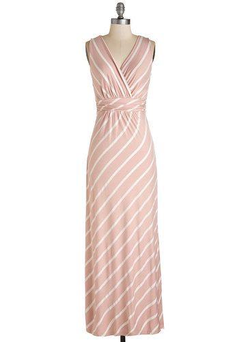2c252210b703 Adore Country Dress in Blush Stripes - Long, Jersey, Knit, Blush, White,  Stripes, Print, Casual, Pastel, Maxi, Sleeveless, Spring, Variation, V  Neck, ...
