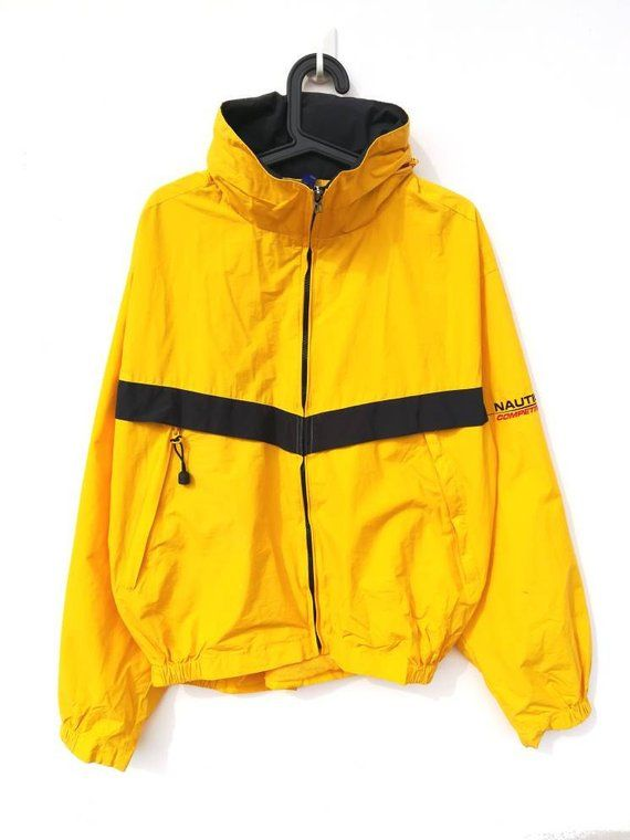 f99b648449 Vintage Nautica Competition Sailing Bright Yellow Windbreaker Jacket Size L