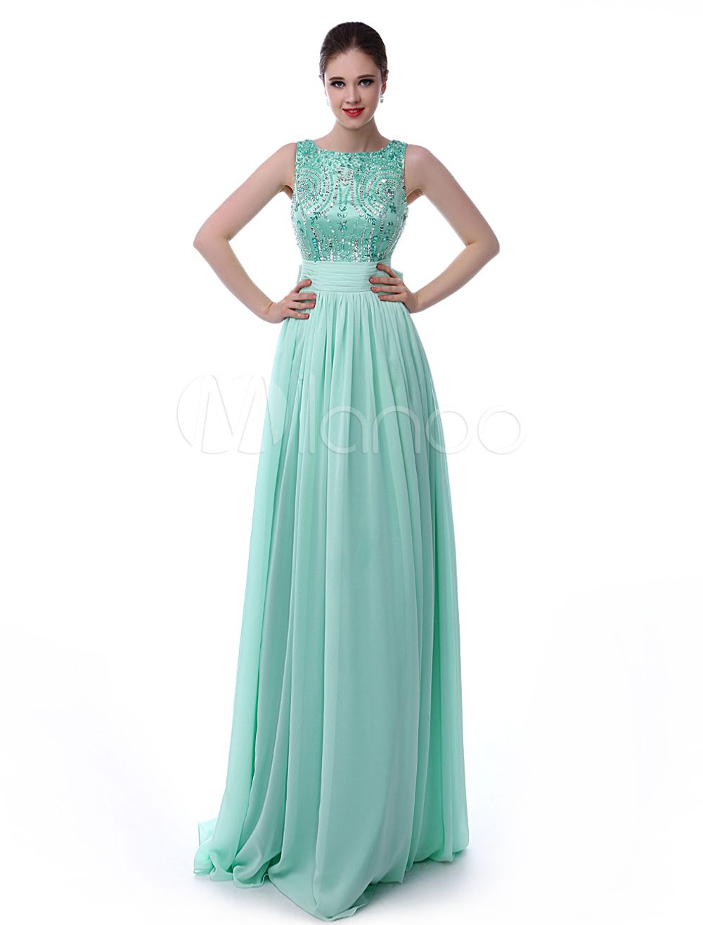 e81b8854b3c3 Mint Green Prom Dress V-Back Rhinestone Bow Sash Sequins Chiffon ...