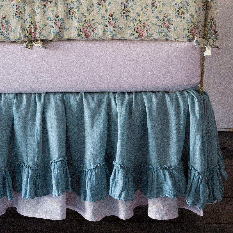 Bella Notte Crib Skirt Whisper Linen. laylagrayce