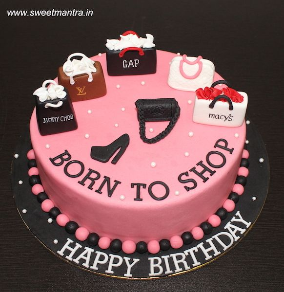 Born To Shop Theme Customized Designer Fondant Cake With