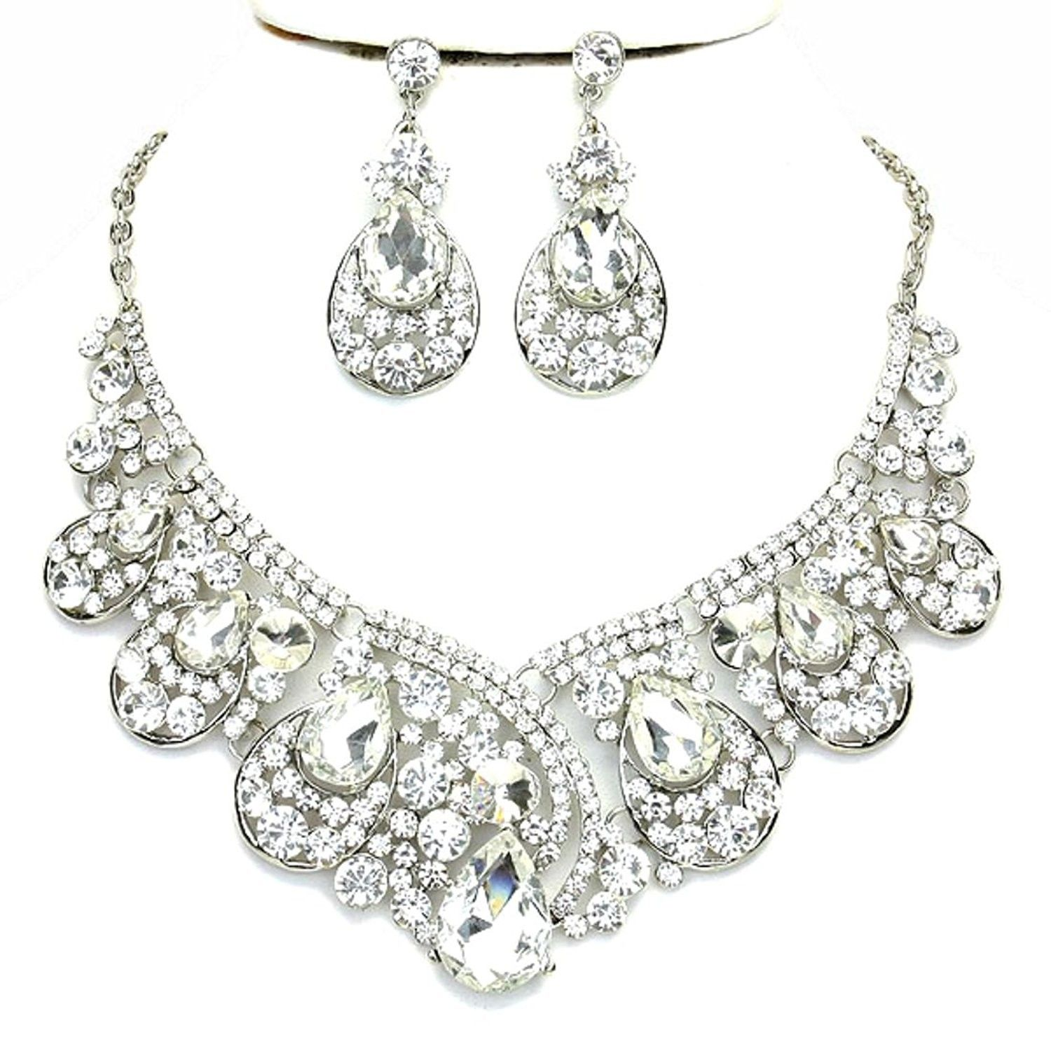 Affordable Clear Crystal Statement Silver Chain Necklace