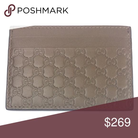 3880ef3bc219 Gucci #476010 Gray Micro-GG Leather Card Case - Gray GG Micro-Guccissima