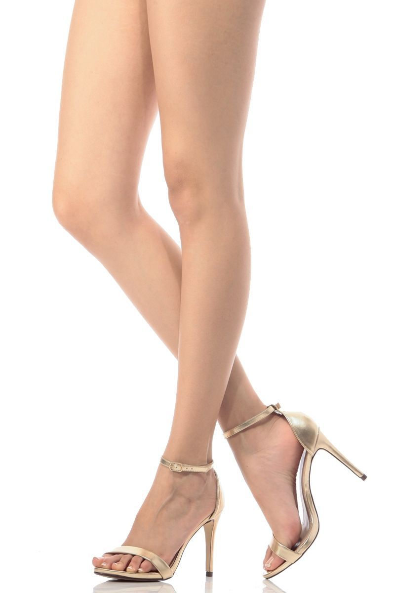bd5e8c619490 Gold Faux Leather Ankle Strap Single Sole Heels   Cicihot Heel Shoes online  store sales