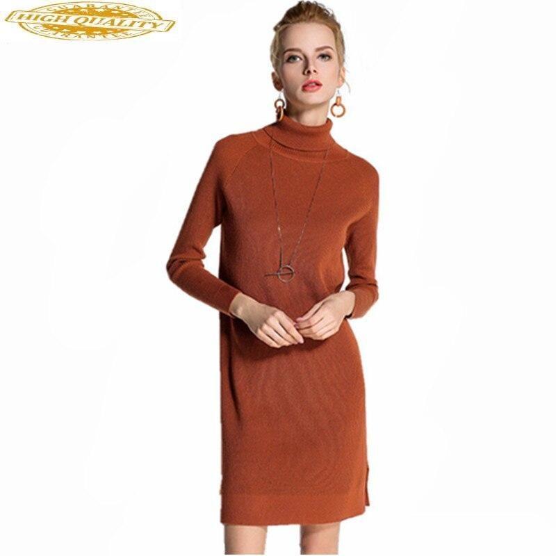 Fashion 2020 Knitted Dress Women Turtleneck Autumn Winter