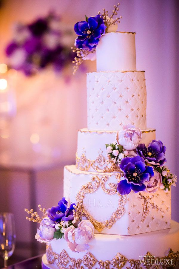 Purple Gold Persian Wedding Purple Wedding Cakes Floral