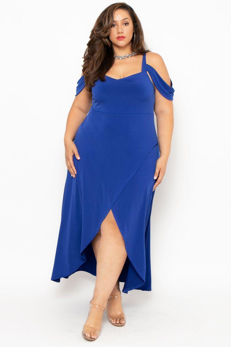 891aed5ab05 Plus Size Vienna Cold Shoulder Dress- Blue