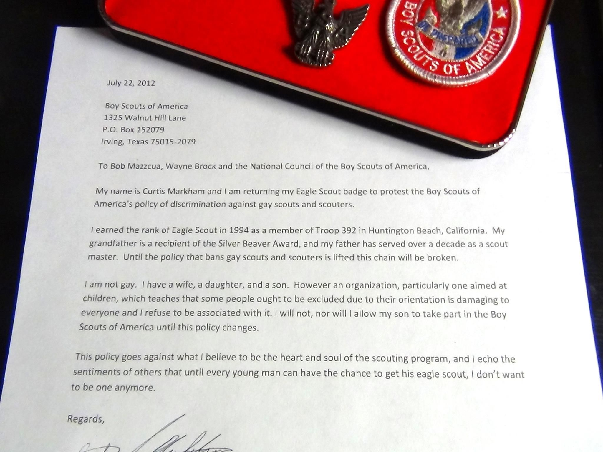 An Eagle ScoutS Letter To Boy Scouts Of America On Why He CanT